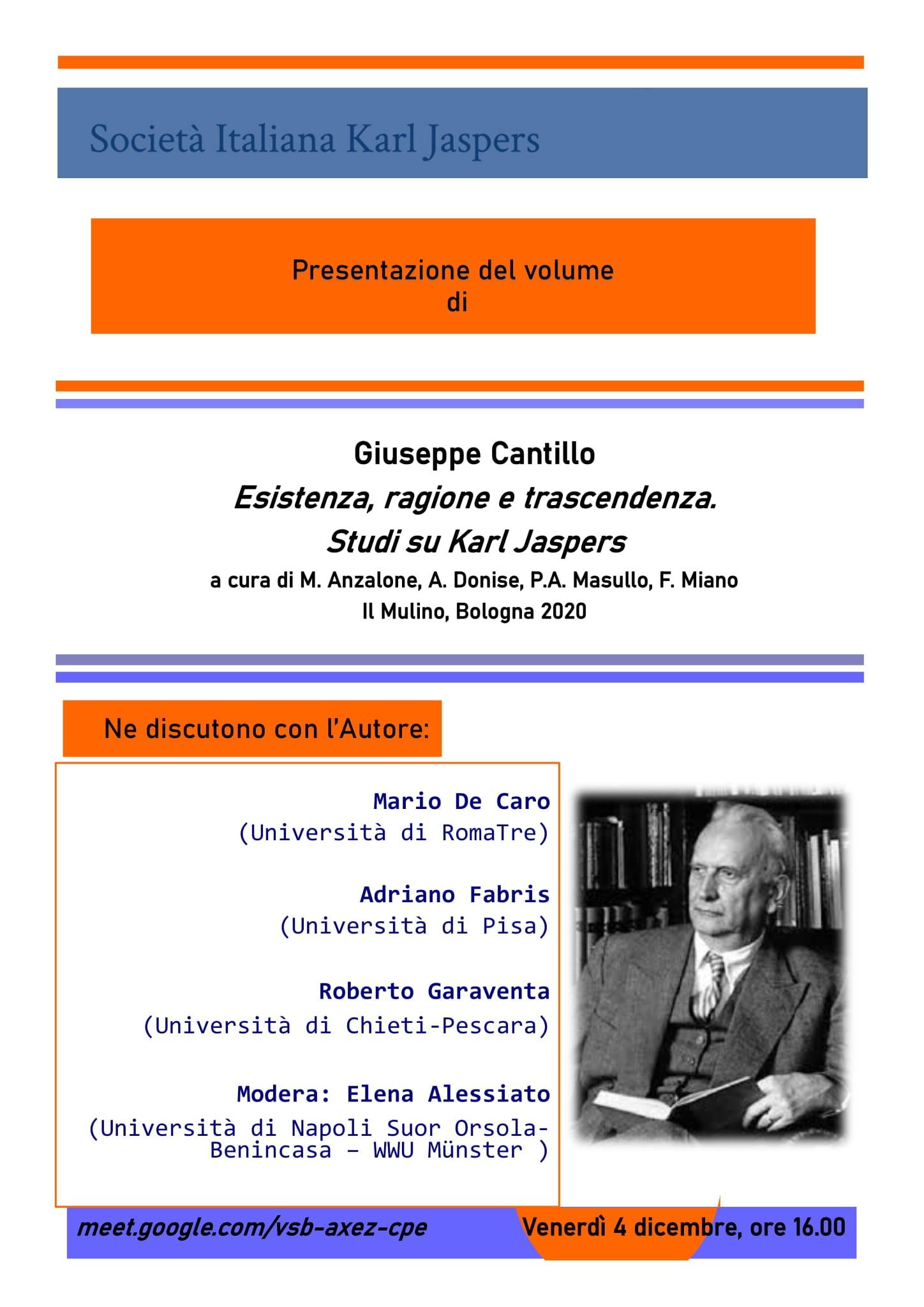 """Presentazione volume """"Esistenza, ragione e trascendenza"""" di G. Cantillo"""